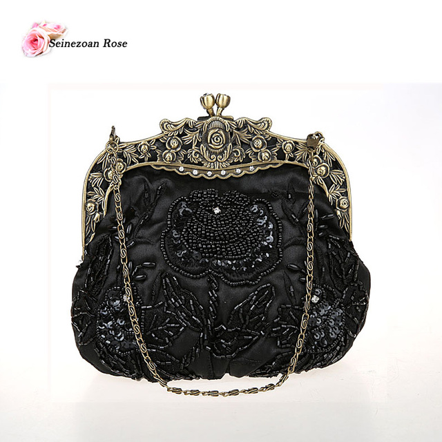 2016 Vintage Women s Small Beaded Sequined Frame Clutch Bags Floral  Embroidery Wedding Bags Women Shoulder Messenger Handbags 594b34d292a8