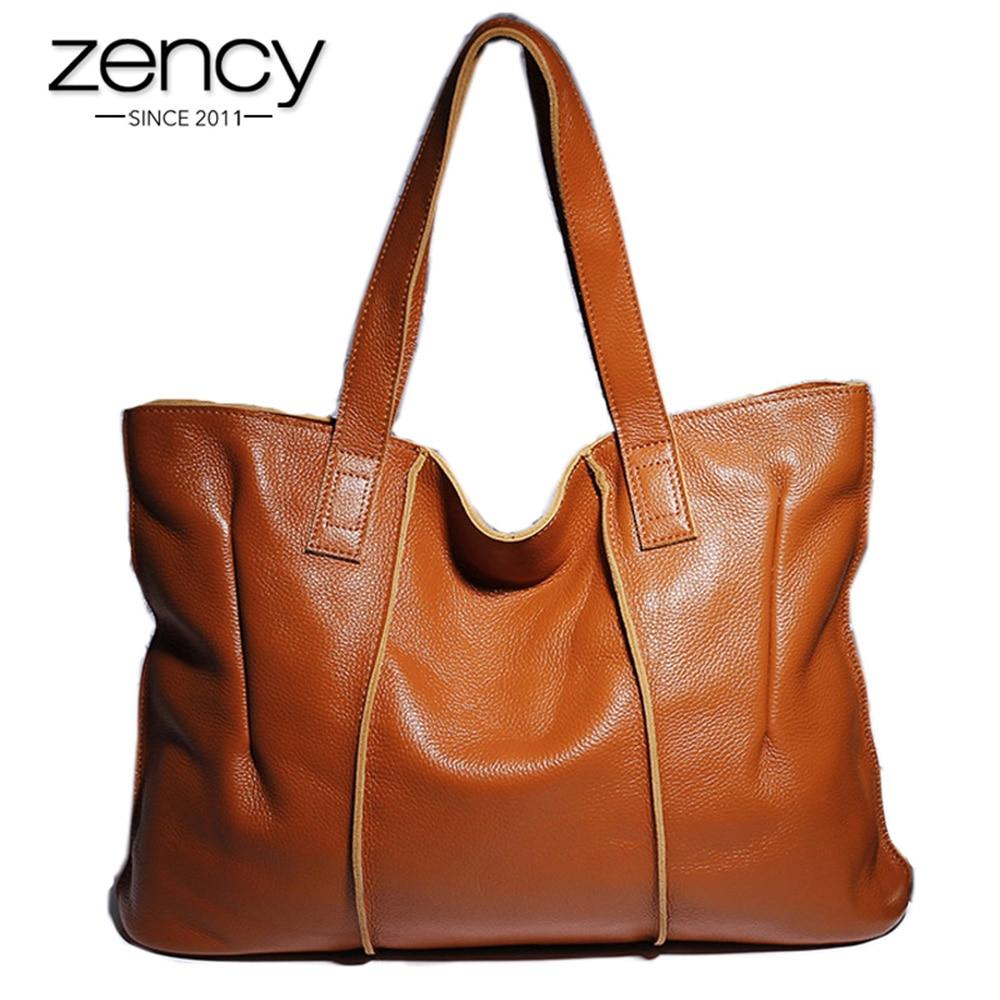 Zency 100% sac à main en cuir véritable grande capacité femmes sac à bandoulière rétro fourre-tout sac à main de haute qualité Hobos marron sacs à provisions
