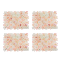 Pack of 4 Artificial Silk Flower Rose Hydrangea Wall Panels Wedding Backdrop Decor White And Champagne
