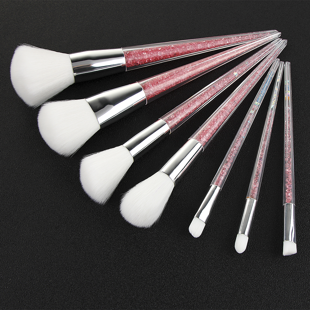 BBL 7pcs Pink Crystal Makeup Brushes Kit Foundation Blending Blush Eyeshadow Lip Brush Cosmetics Make Up Tool Pincel Maquiagem 7pcs pro unicorn mermaid makeup brushes foundation blending powder eyeshadow contour concealer blush comestic make up kits tool