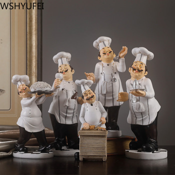 1pcs Chef model home decoration resin crafts figurine kitchen home decoration bottle opener spice jar wine rack seasoning bottle 1