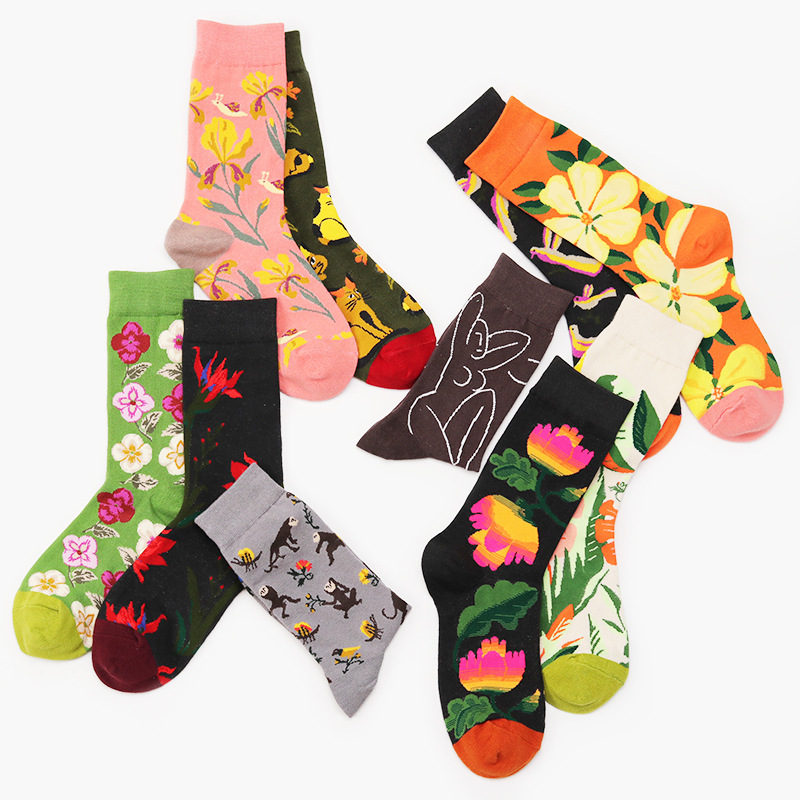 Autumn New Arrival Women Abstract Art Cotton Socks Floral & Animal Funny  Patterned Women Hipster