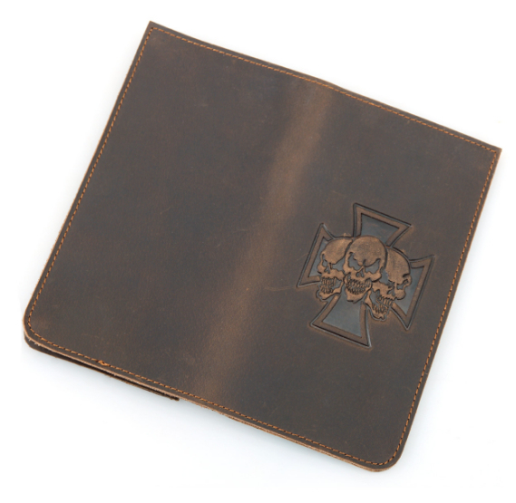 SKULL CROSS GENUINE COW LEATHER WALLET