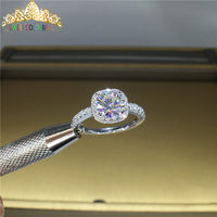 100% 18K 750Au Gold Moissanite Diamond Ring D color VVS With national certificate MO 00104