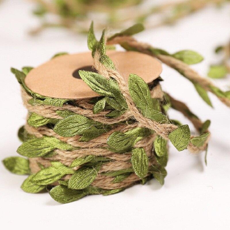 2m/Roll Simulation Green Leaves Weaving Hemp Rope DIY Wedding Birthday Rattan Gift Bouquet Packaging Rope