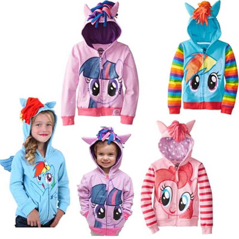 2018 nueva primavera otoño mi niñas abrigos lindo niños con capucha chaquetas de los niños prendas de vestir exteriores de los niños ropa de dibujos animados Pony chica chaquetas