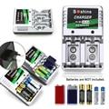 Indicação de carga carregador de bateria com two-way individual para aa/aaa/9 v/ni-mh/ni-cd-cd baterias recarregáveis plugue da ue