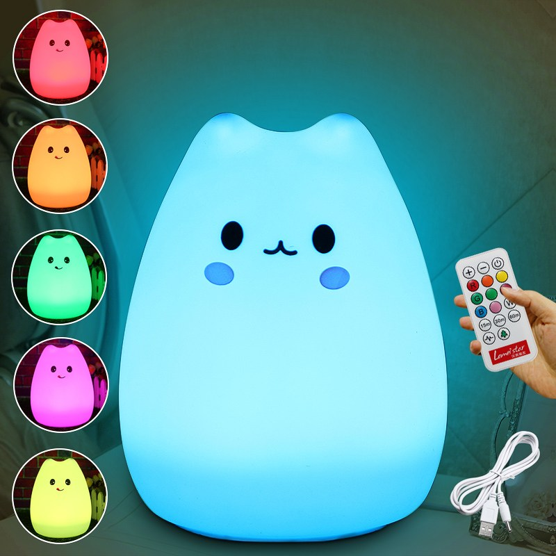 Color Changing Silicone Animal Cat Rechargeable USB LED Night Light Lamp For Children Bedroom With Remote Control