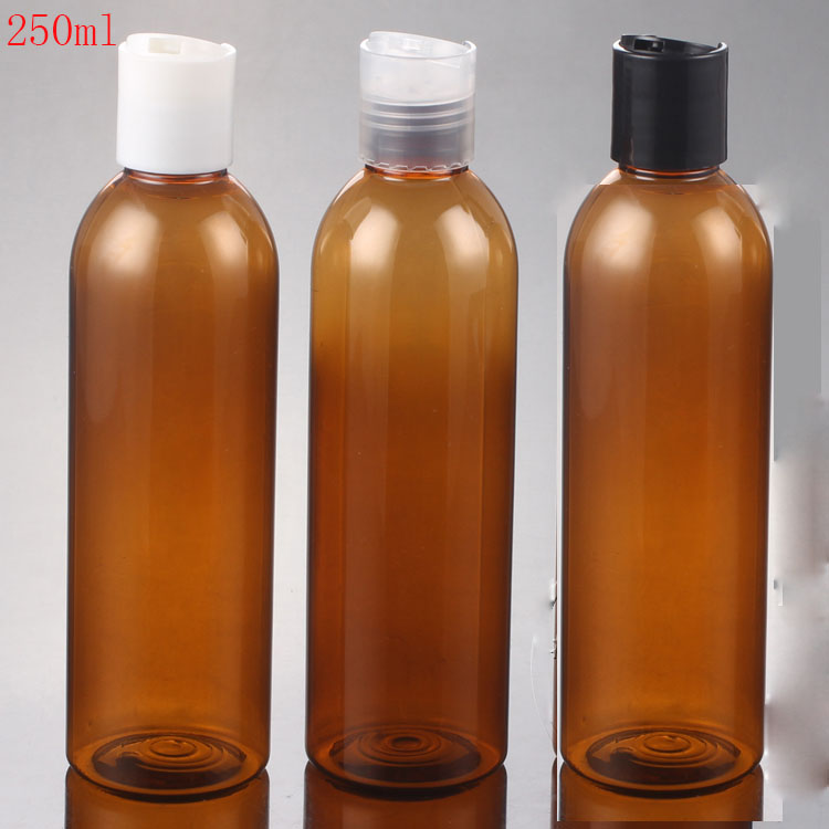 40pcs 250ml brown plastic travel bottles 250cc empty amber cosmetic containers empty PET plastic bottles