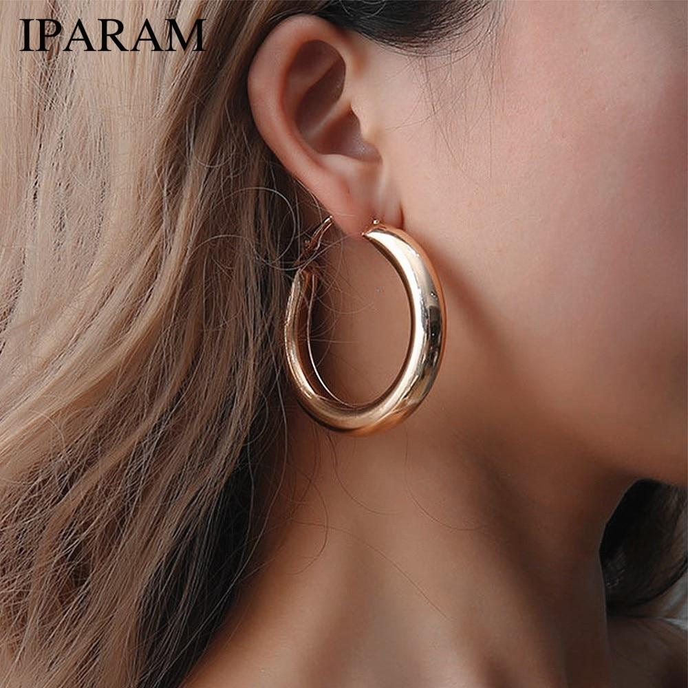 IPARAM модные круг цвет золотой серьги в виде колец, 2021 панк ретро большой круглый жена серьги в виде колец, подарки для женщин