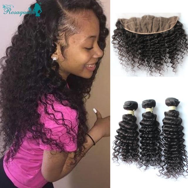 Deep wave with Closure 4 pcs 3 Bundles Curly Weave With Closure Brazilian  Virgin Human Hair Lace Frontal Closure with Bundles 3a56fe0d1e8e