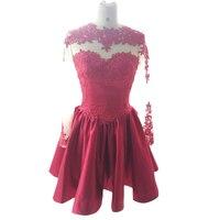 Новое поступление Homecoming платья Высокая шея с длинными рукавами Тонкий Кружева атласная Короткие до колена Длина вечерние платья
