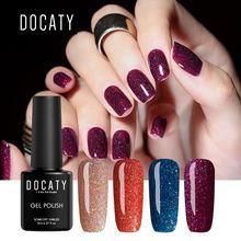 Docaty 8ml Neon Gel Paint Nail Polishes Permanent Soak Off Gel Varnish Hybrid Enamel Manicure Rainbow Azure Nail Gel Polish