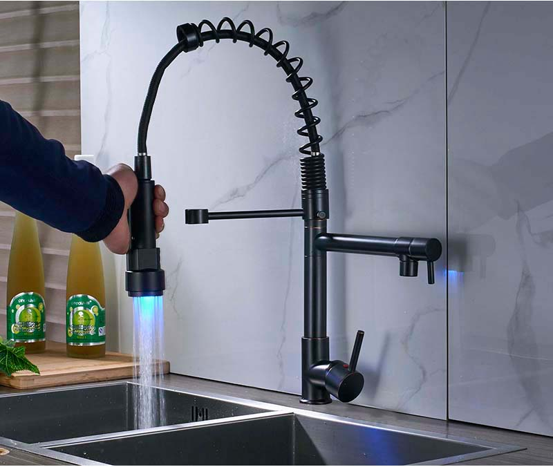 led kitchen bathroom faucet with spring dual pull down spout sprayer