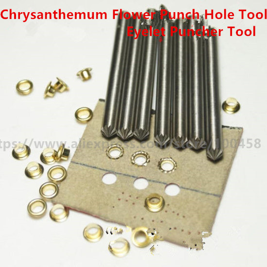 Leather Craft Most Type Chrysanthemum Flower Punch Hole Tool Carbon Steel Leather Gasket Pap Metal Grommet Eyelets Puncher