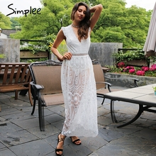 Simplee Vintage backless ruffle summer dress women Sexy deep V transparent lace dress Hollow out long dress vestidos de fiesta
