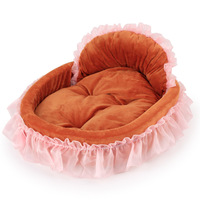 High Quality Dog Bed Winter Pet House Lace Side Princess Nest Warm Pink Dogs Pad Large