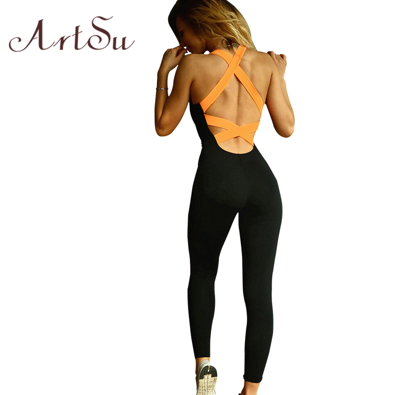 ArtSu 2017 Jumpsuit & Rompers With Bra Skinny Bodysuit Backless Bandage Slim Jumpsuit Women Macacao Enteritos Mujer JU5174