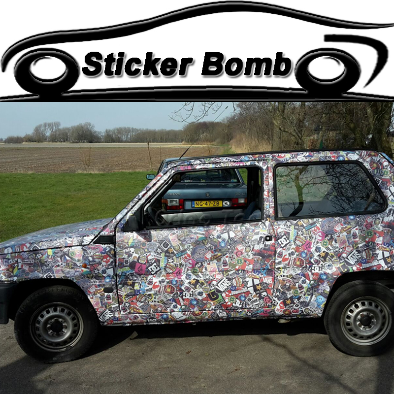 JDM Graffiti Stickerbomb Vinyl Wrap Racing Car Motorcycle Scooter Sticker Decal DIY Styling Sticker Bomb Foil Film Wrapping