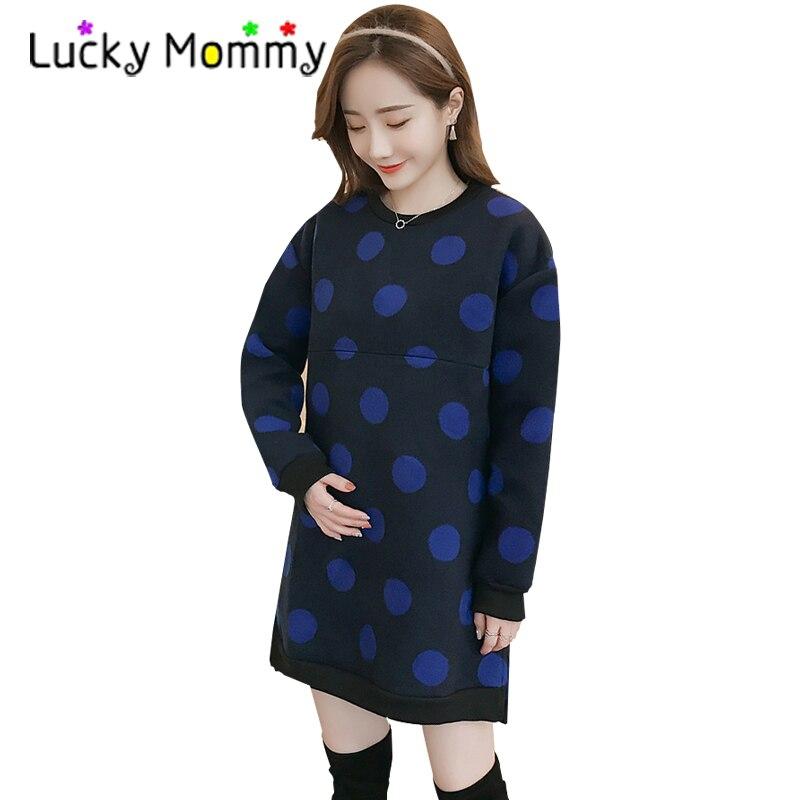 Winter Warm Polka Dot Maternity Nursing Dress for Feeding Breastfeeding Dress Women Clothing for Photography Maternity Dresses