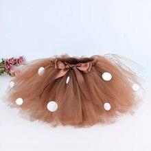 Костюм с оленем коричневая пушистая юбка-пачка для девочек, детская юбка в горошек для дня рождения костюм на Хэллоуин танцевальная школьная юбка-пачка, От 0 до 12 лет