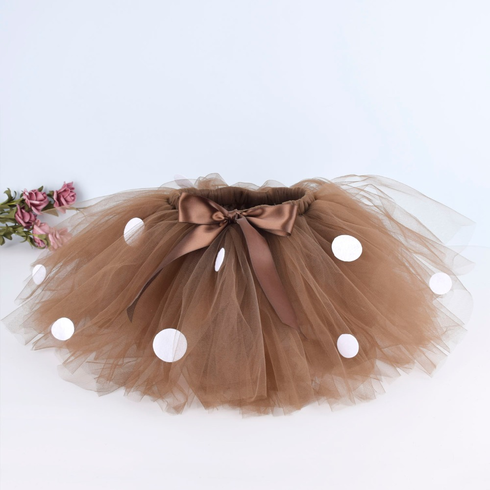 Deer Costume Brown Fluffy Tutu Skirt For Girls Baby Birthday Party Polka Dots Skirt Halloween Costume Dance School Tutus 0-12Y