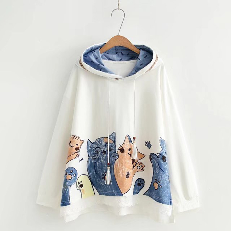 2018 Hot Autumn Casual Hoodies Women White Loose Cat Print Hooded Lace Patchwork Japanese Mori Girl Preppy Bape Hoodie Sweashirt