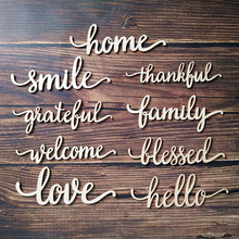 10pcs Laser Cut Family Hello Smile Welcome Blessed Home Large Wall Sign Wooden Words Room Decoration Hanging Wood Art