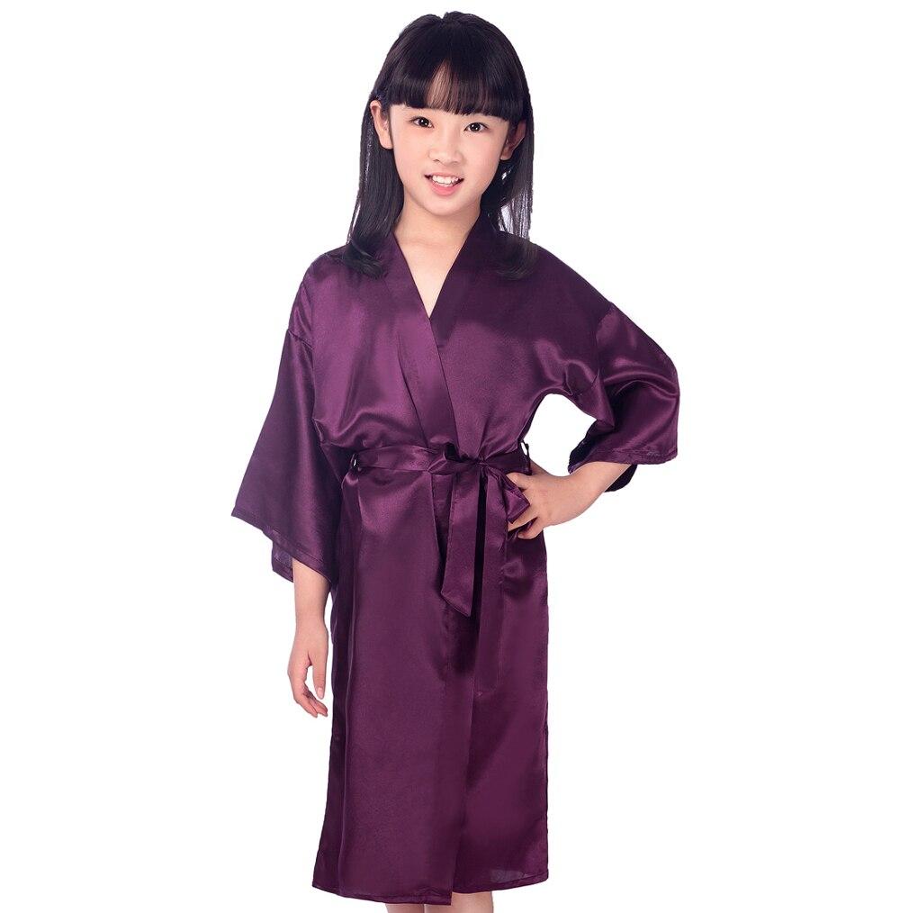 Niños Rosa Bata de Seda del Faux Niños Kimono Yukata Vestido de dama ...
