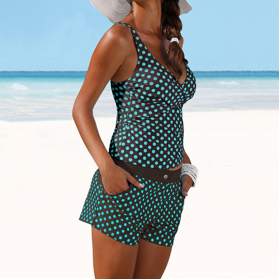 fbe9d05a3173a9 Trangel Bikini Set Dot Print Tankini Dames Zwemkleding Zomer Badpak ...