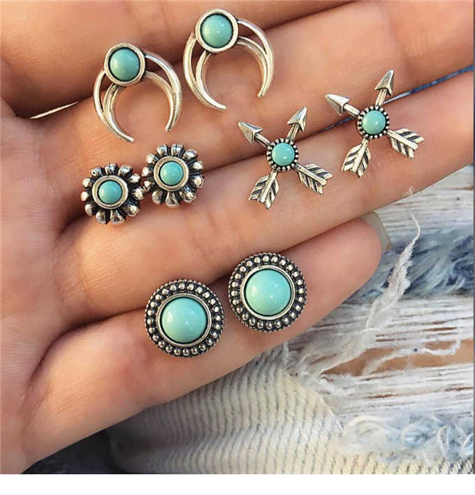 4 pairs /set earrings new fashion women's jewelry girls' birthday party: pearl earring green and pink green mixed suit