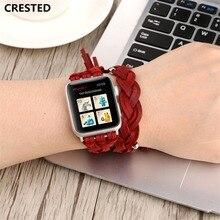 Хохлатая пояса из натуральной кожи для Apple watch группа 44 мм 40 correa iwatch ремешок серии 4 запястье браслет двойной обёрточная бумага