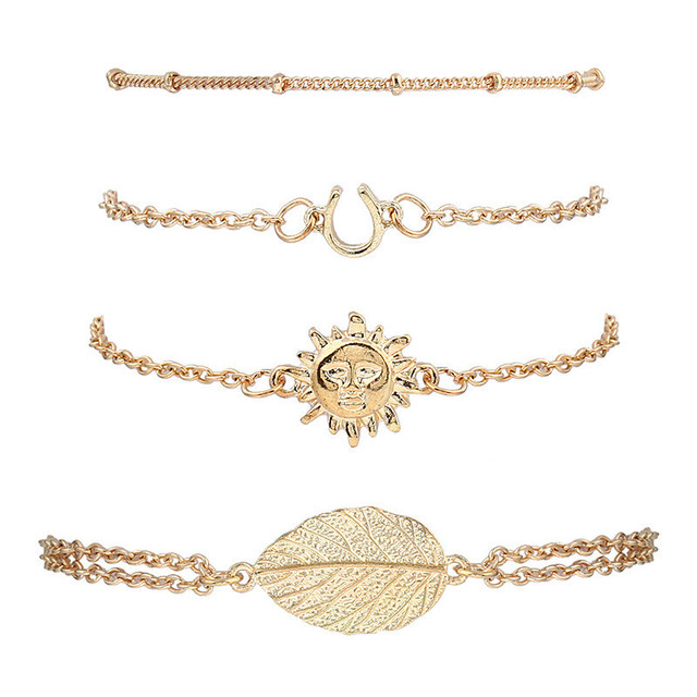 Verrückte Feng Gold Farbe Gliederkette Armband Blatt Sonne Perlen ...
