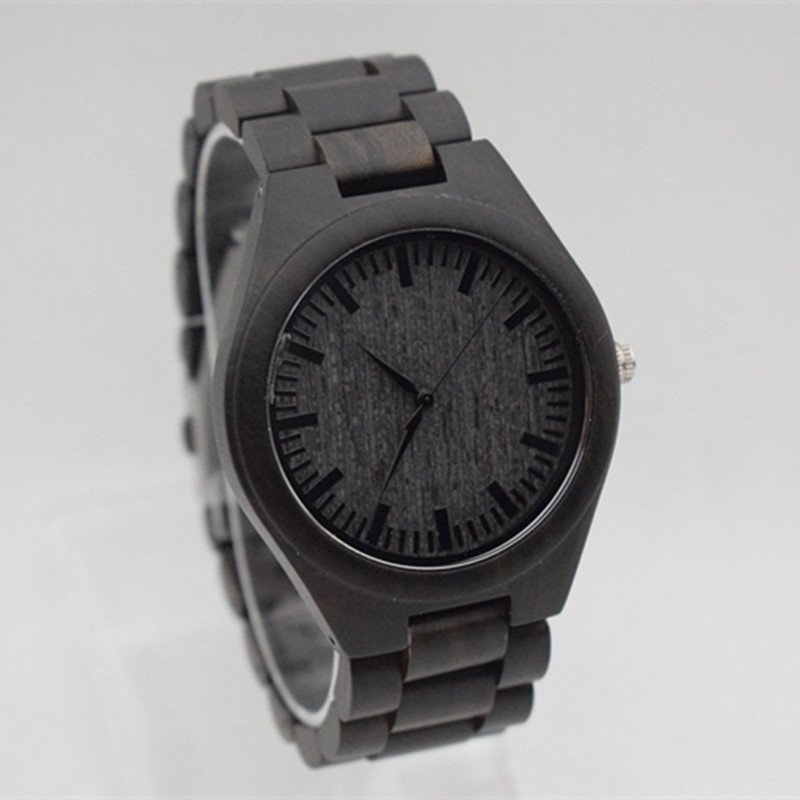 Round Vintage black  Wood Case Men Watch With Ebony Bamboo Face Strap Japanese movement