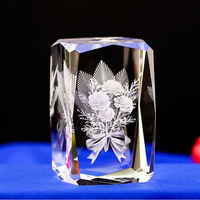 Carnations LASER ENGRAVED CRYSTAL night Light Flower crystal Led Light For Mom And Birthday Gifts