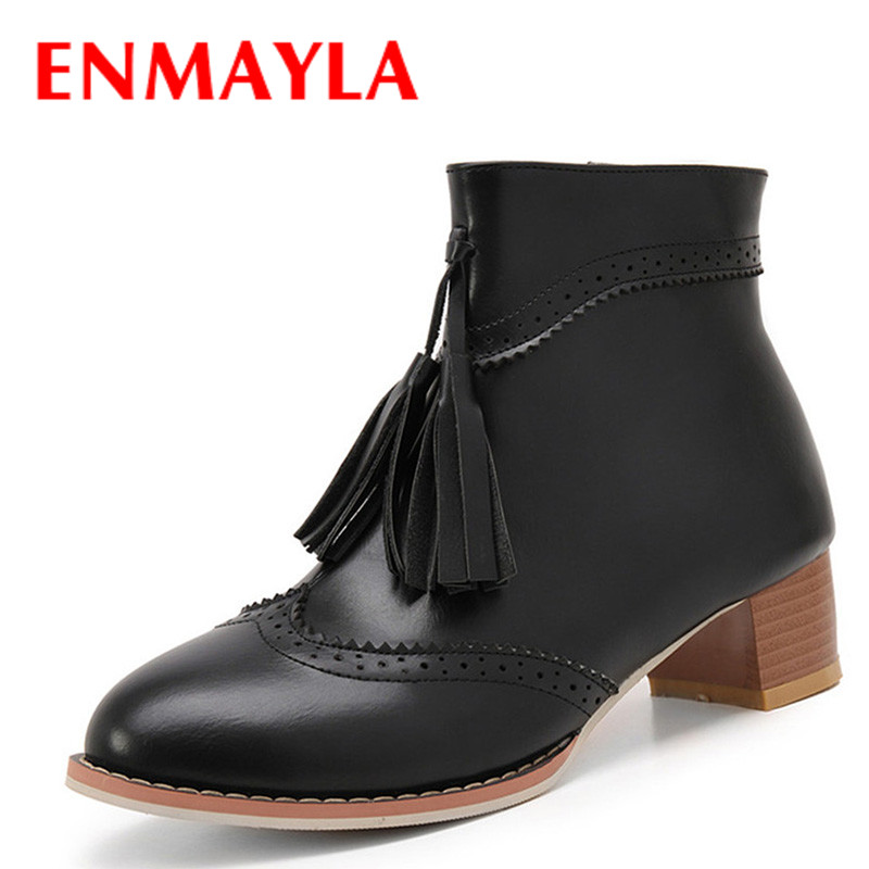 Airfour Autumn&Winter New Fashion Med Heel Tassel Ankle Boots Women Zipper Platform High-top Lady Shoes Woman Big Size