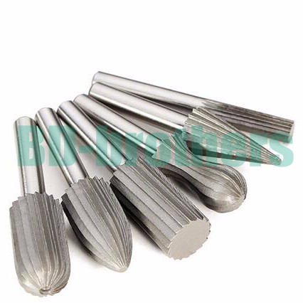 6 pcs HSS Carbide Burr Bit Rotary Cutter Files Set Milling Cutter 6mm 1/4 Shank For Dremel Rotary Tools Electric Grinding 100