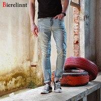 Bierelinnt 2017 European and American Style New Fashion Straight Thick Line Jeans Men,Pure Cotton Denim Men Jeans,146038C-6B
