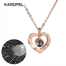 Romantic Rose Gold Silver 100 Language I love You Necklace Memory Projection Pendant Wedding Letter Drop Shipping