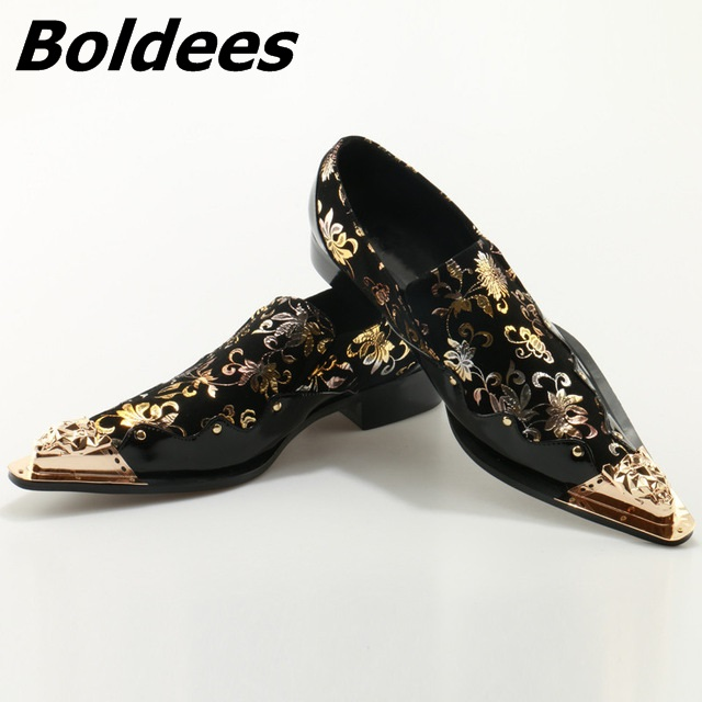 Boldees Metal Pointed Toe Mens Dress Shoes Genuine Leather Black Luxury Wedding Shoes Floral Print Men Flats Office Formal Shoe цена 2017