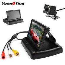 YuanTing 4,3 ''Автомобильный складной монитор TFT ЖК-дисплей заднего вида резервная парковочная камера 8 светодиодный ночное видение водонепроницаемый универсальный