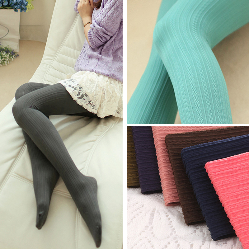 W7843 autumn and winter womens tights candy colors 160D velvet pantyhose skinny , warm and added stretch