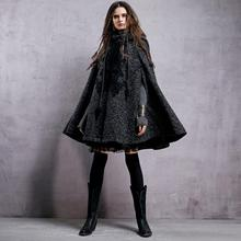 Winter Embroidery Hooded Thicken Warm Lady Woolen Outerwear Coat High-end Women Cape Shoulder Sleeve Cloak Parka
