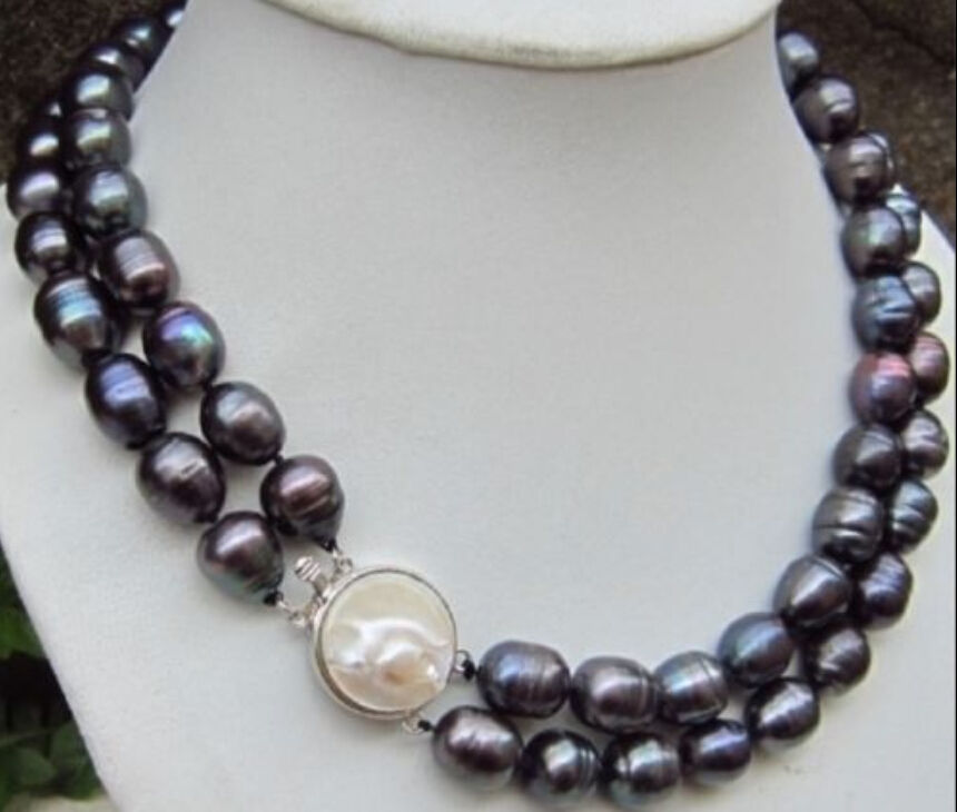Real beautiful tahitian 11-13mm black baroque pearl necklace 18Real beautiful tahitian 11-13mm black baroque pearl necklace 18