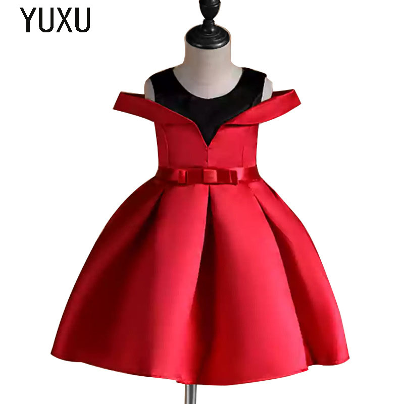 red Flower Girl Lace appliques Dress Kids Dresses for Girl Princess birthday pageant party ball gown Children Christmas Clothing цена