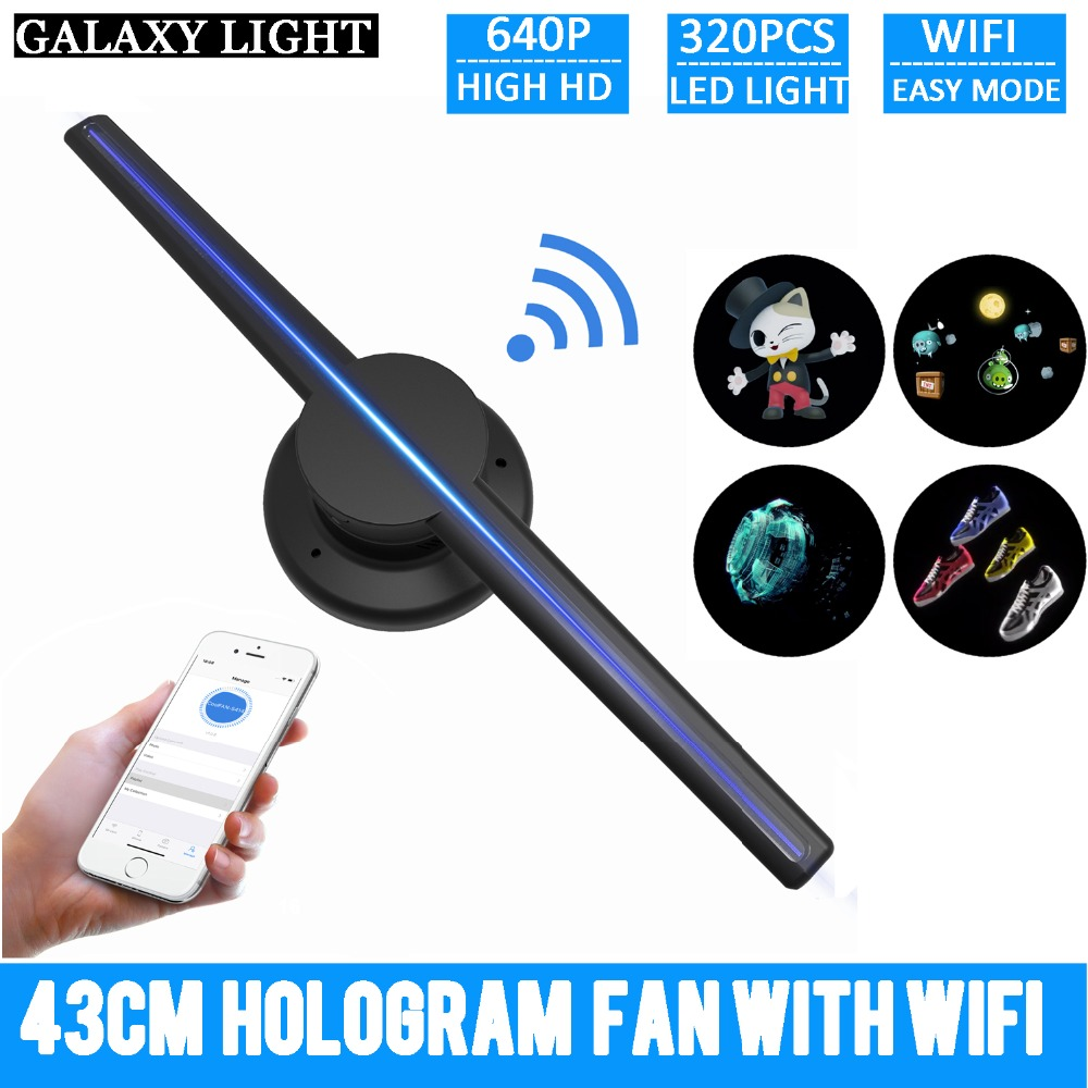 NEW Hot adverting light 42cm/16.54 Wifi 3D Holographic Projector Hologram Player LED Display Fan Advertising Light APP Control