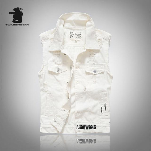 New men's white Denim Vest Designer Fashion Retro vintage Hole High Quality Plus Size Casual Vest Men M~2XL CC4E1002