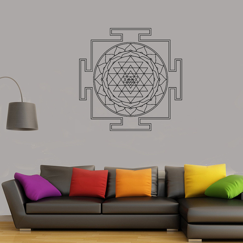 Sri Yantra Pattern Vinyl wall sticker Sacred Geometry Removeable Decal Salon Livingroom Bedroom Decoration 57x57cm