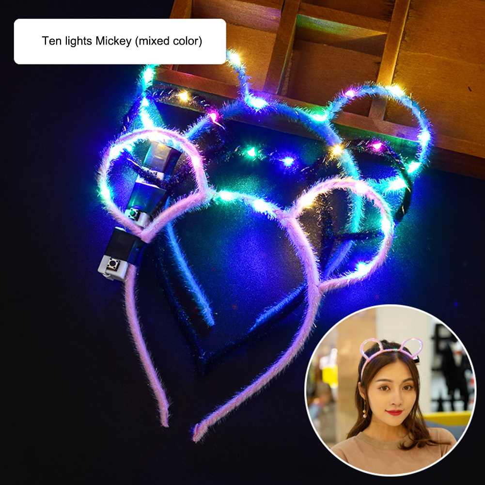LED Light Luminous Ears Flashing Hair Band Hoop Toy Women Kids Glowing Headband Headdres Toys New Year Party Toy Christmas Gift