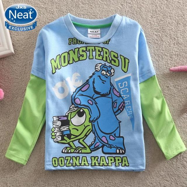 Neat wholesale long sleeve boys T-shirt character baby boy clothes cool style kids cothes boys shirt 100% cotton A5090#